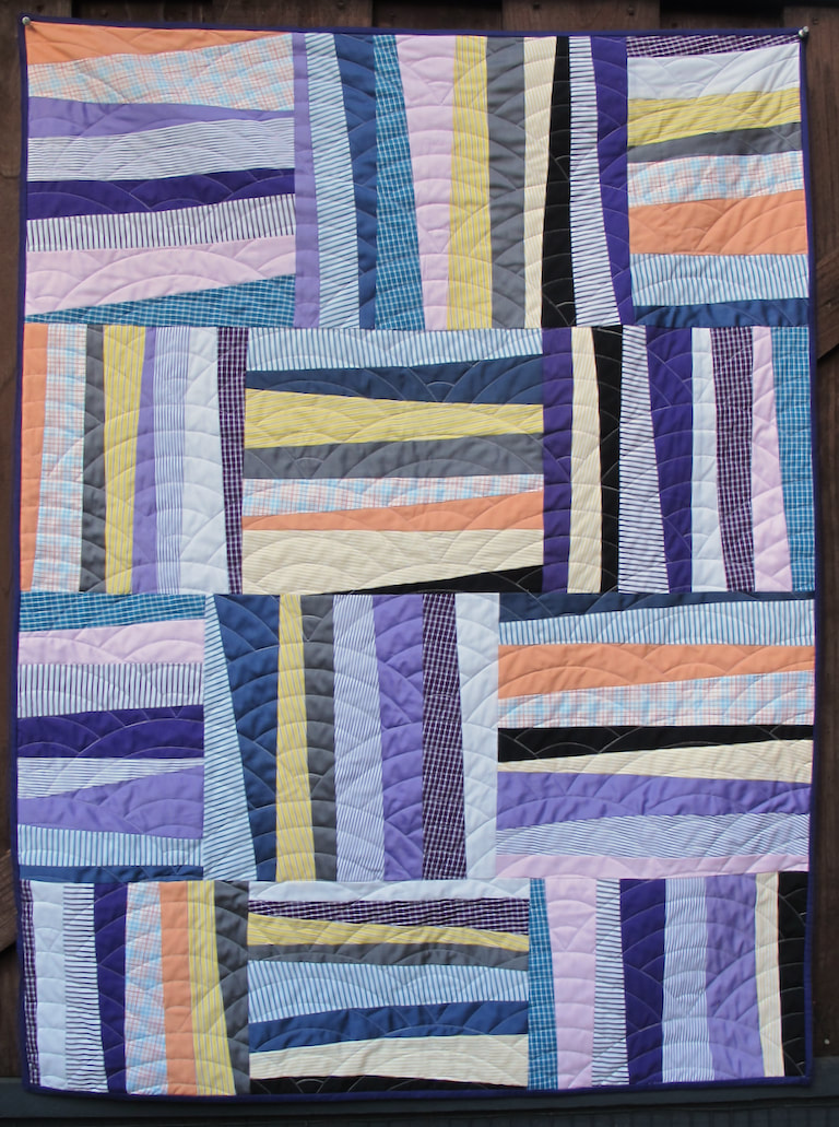 Dad Shirt Quilt for Tad by Carol Van Zandt, quilted by Hello Stitch